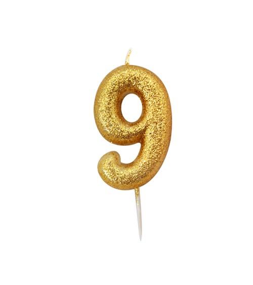 """Geburtstagskerze mit Glitter """"9"""" - gold"""