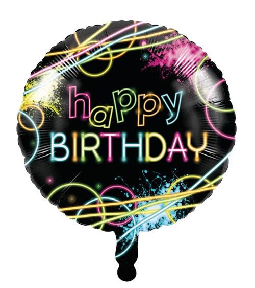 "Runder Folienballon ""Neon Party"" - Happy Birthday"