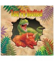 """Einladungskarten """"Dinosaurier"""" - 8 Stück"""