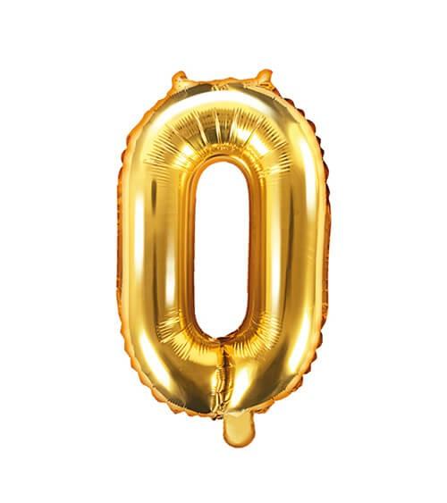 "Folienballon Zahl ""0"" - gold - 35 cm"