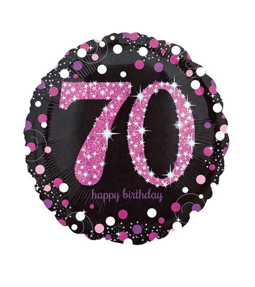 "Runder Folienballon ""Sparkling Pink"" - 70. Geburtstag"