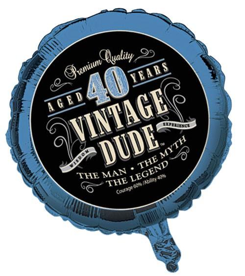 """Folienballon """"Vintage Dude - 40. Geburtstag"""""""