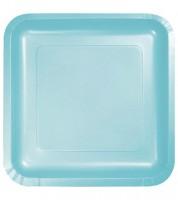 Eckige Pappteller - pastellblau - 18 Stück