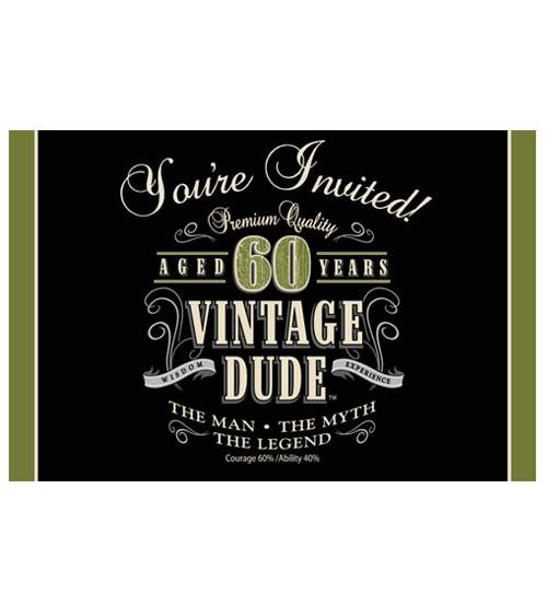 """Einladungskarten """"Vintage Dude - 60. Geburtstag""""- 8 Stück"""
