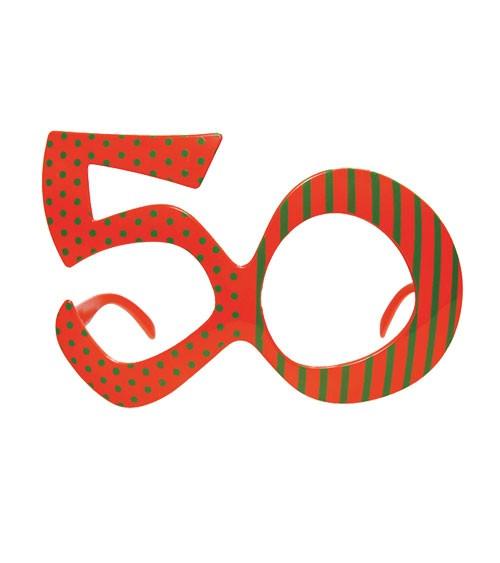 """Partybrille """"50"""" - orange/grün"""