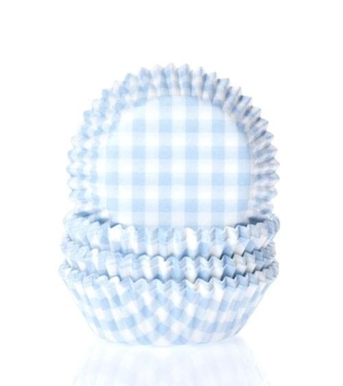 "60 Mini-Muffinförmchen ""Vichy Karo"" - hellblau"