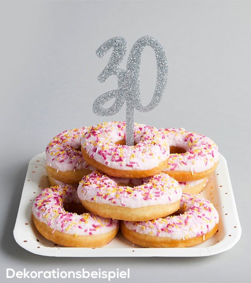 "Cake Topper aus Acryl ""30"" - glitter silber"