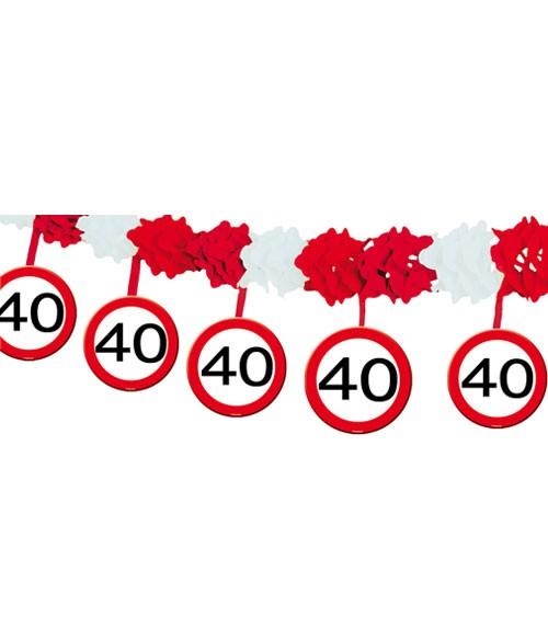 """Papiergirlande mit Anhängern """"Verkehrsschild"""" - 40. Geburtstag - 4 m"""