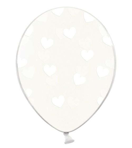 """Luftballons """"Weiße Herzen"""" - transparent - 6 Stück"""