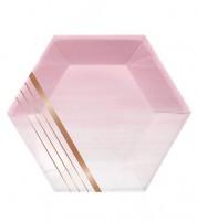 """Sechseckige Pappteller """"Rosé All Day"""" - 8 Stück"""