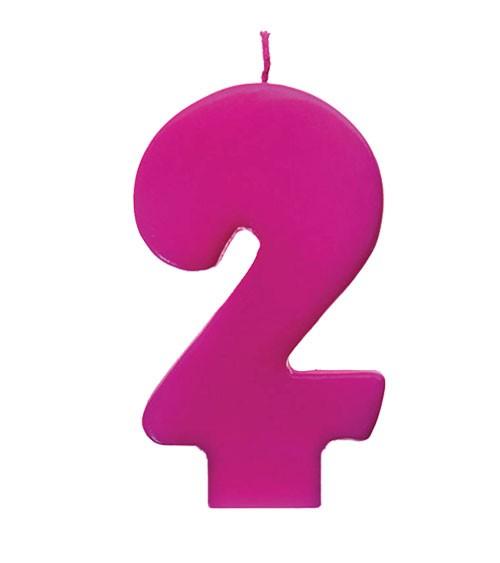 """Geburtstagskerze """"2"""" - pink"""