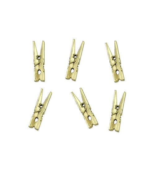 Mini-Wäscheklammern aus Holz - gold metallic - 20 Stück
