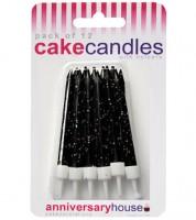 Kuchenkerzen mit Glitter - schwarz - 12 Stück