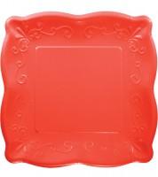 Bankett-Pappteller mit Prägung - korallenrot -  8 Stück