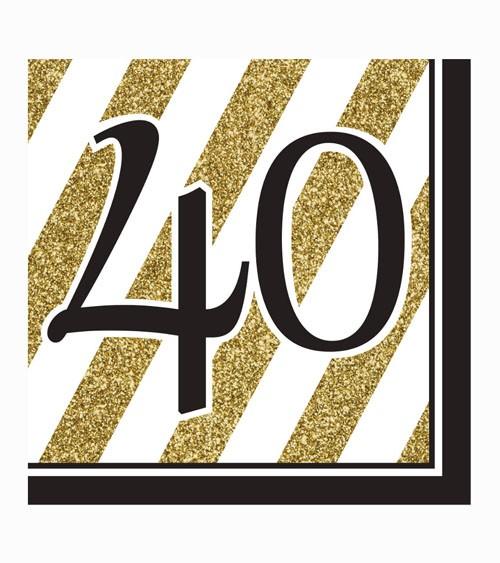 """Servietten """"Black & Gold - 40. Geburtstag"""" - 16 Stück"""