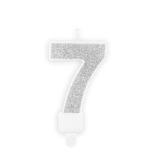 "Zahlenkerze mit Glitter ""7"" - silber - 7 cm"