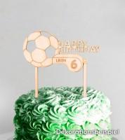 """Dein Cake-Topper """"Fußball"""" aus Holz - Wunschtext"""