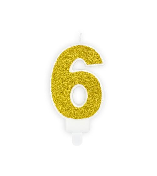 "Zahlenkerze mit Glitter ""6"" - gold - 7 cm"