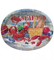 """Große ovale Pappteller """"Seafood"""" - 8 Stück"""