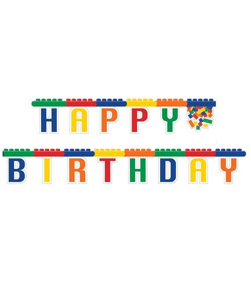 "Happy Birthday-Girlande ""Bunte Bausteine"" - 2,36 m"