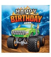 """Servietten """"Monster Truck Show"""" - Happy Birthday - 16 Stück"""