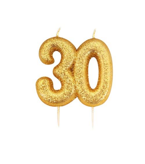 """Geburtstagskerze mit Glitter """"30"""" - gold"""