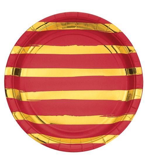 Pappteller - rot/gold - 8 Stück