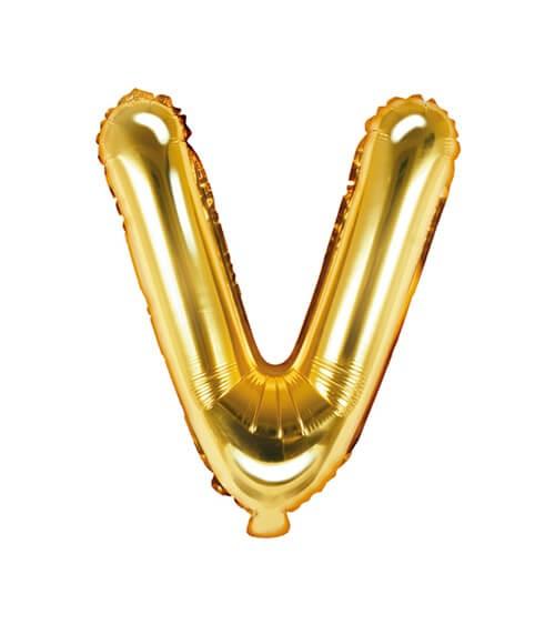 """Folienballon Buchstabe """"V"""" - gold - 35 cm"""