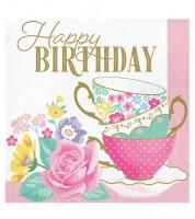 """Servietten """"Floral Tea Party"""" - Happy Birthday - 16 Stück"""
