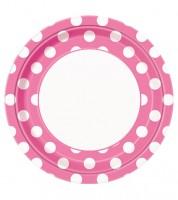 """Pappteller """"Big Dots"""" - pink - 8 Stück"""