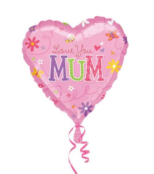 "Herz-Folienballon ""Love You Mum"" - 43 cm"