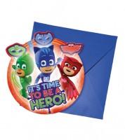 "Einladungskarten ""PJ Masks - Pyjamahelden"" - 6 Stück"