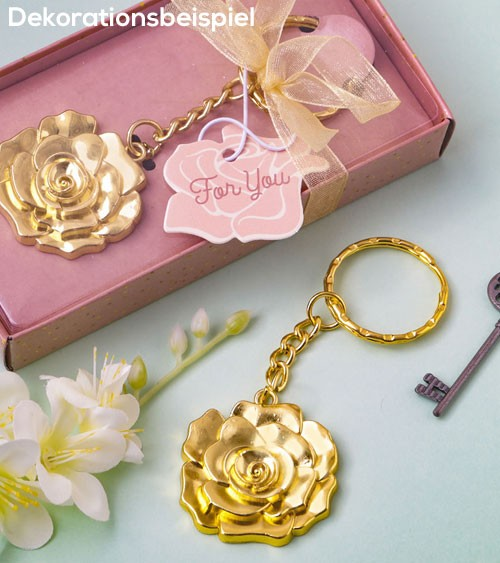 "Schlüsselanhänger aus Metall ""Goldene Rose"""