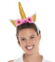 Einhorn-Haarreif mit goldenem Horn und Blüten
