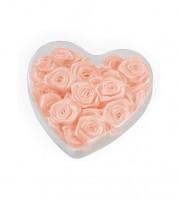 Satin-Rosen zum Streuen in Herzbox - lachs - 2 cm - 30 Stück