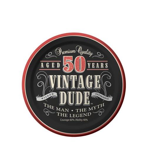 """Kleine Pappteller """"Vintage Dude - 50. Geburtstag""""- 8 Stück"""