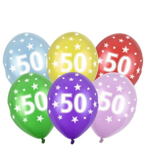 "Metallic-Luftballons ""50"" mit Sternen - 6 Stück"