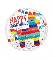 "Runder Folienballon ""Lama Pinata - Happy Birthday"" - 45 cm"