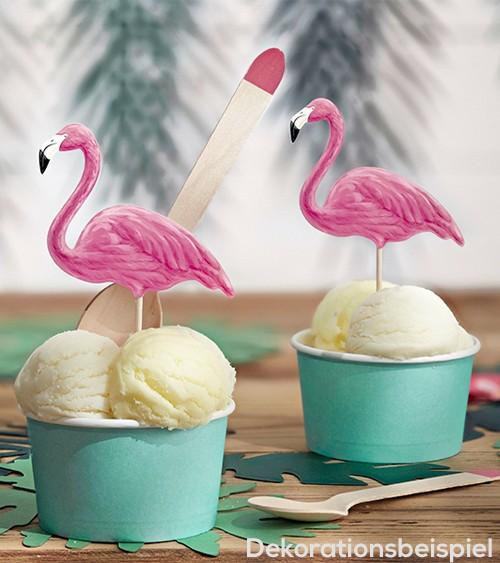 "Cupcake-Picks ""Aloha Party"" - Flamingo - 6 Stück"