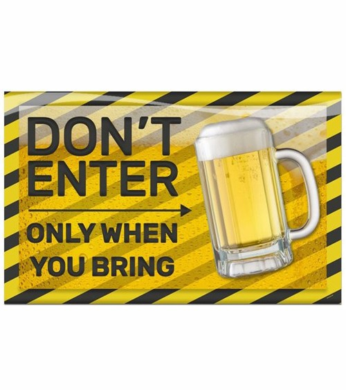 """3D-Wanddeko """"Don't enter - only when you bring Beer"""" - 58 x 37 cm"""