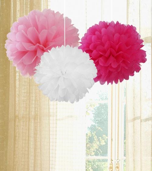 Pom Pom Set - rosa, pink, weiß