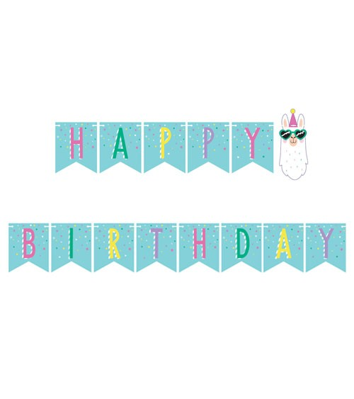 "Happy Birthday Girlande ""Lama Party"" - 2,42 m"