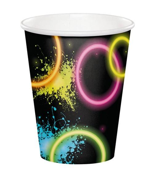 """Pappbecher """"Neon Party"""" - 8 Stück"""