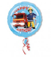 "Runder Folienballon ""Feuerwehrmann Sam"" - Happy Birthday"