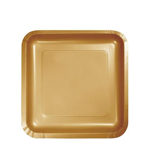 Kleine eckige Pappteller - shimmering gold - 18 Stück
