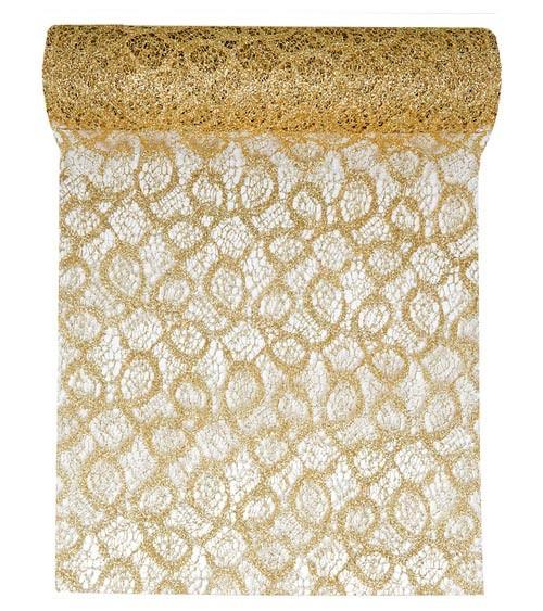 Spitzen-Tischläufer - metallic gold - 28 cm x 5 m