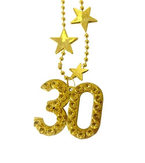 """Goldene Halskette aus Kunststoff """"30. Geburtstag"""""""
