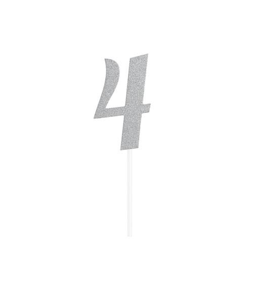 """Kuchen-Topper-Zahl aus Pappe """"4"""" - glitter silber - 5 x 8 cm"""