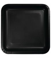 Eckige Pappteller - schwarz - 18 Stück