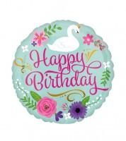"Runder Folienballon ""Schwan - Happy Birthday"" - 45 cm"